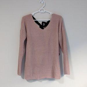 Ayla pink knit cross back sweater.